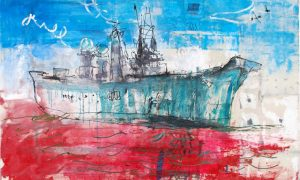 painting of warship
