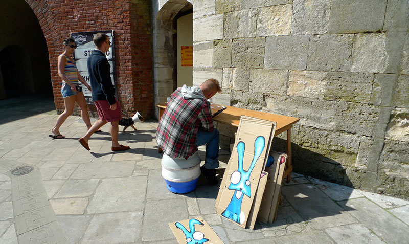 Artist My Dog Sighs outside the Round Tower. Photo credit Claire Sambrook