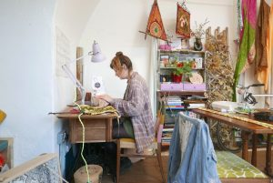 studio, sewing machine and Anglepoise