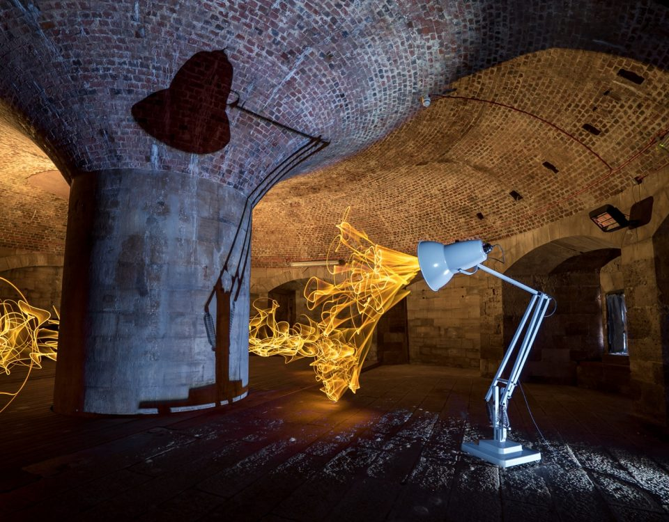 Giant Anglepoise 1227 in The Round Tower. Credit Andrew Whyte