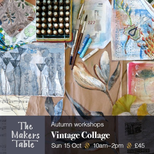 vintage collage workshop - the makers table