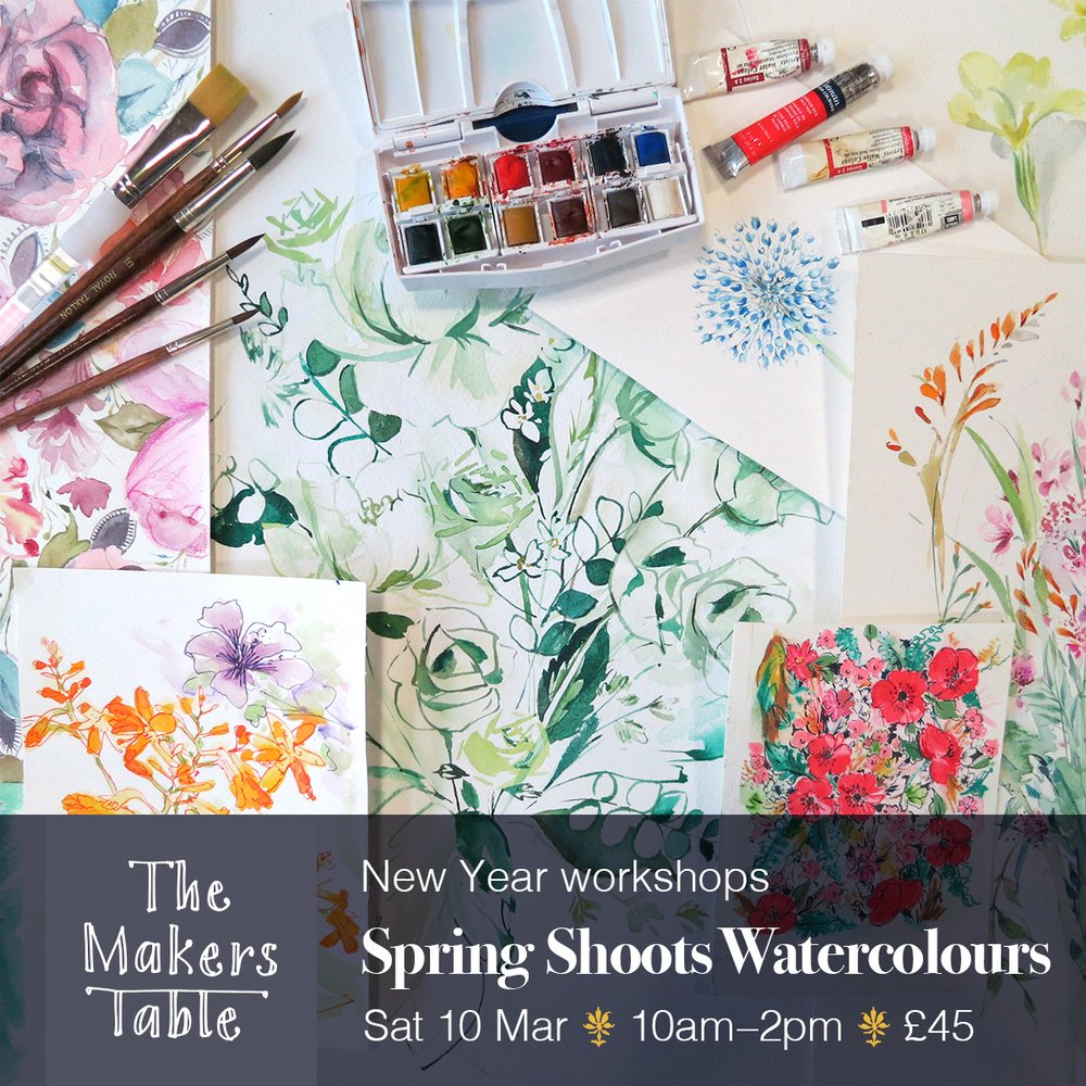 spring shoots watercolours workshop - the makers table