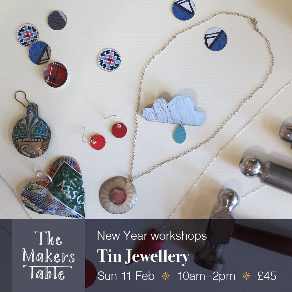 tin jewellery workshop - the makers table