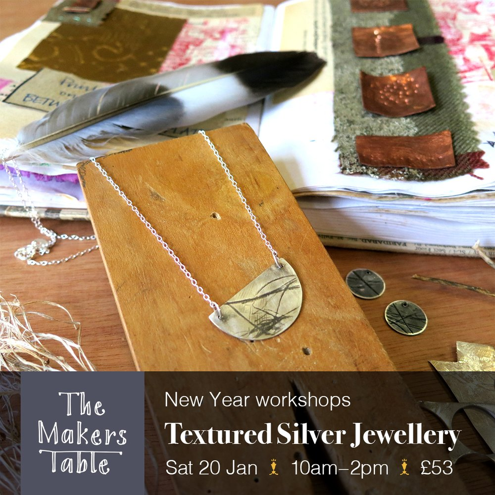 textured silver jewellery - the makers table