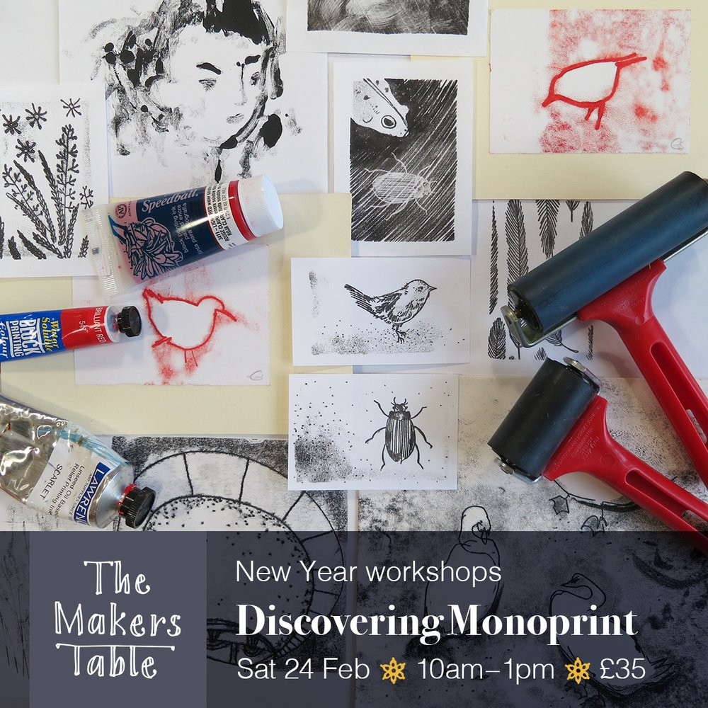 discovering monoprint workshop - the makers table