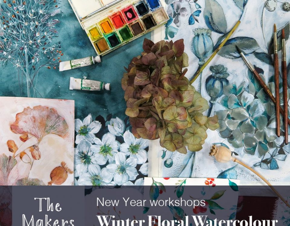 winter floral watercolour - the makers table
