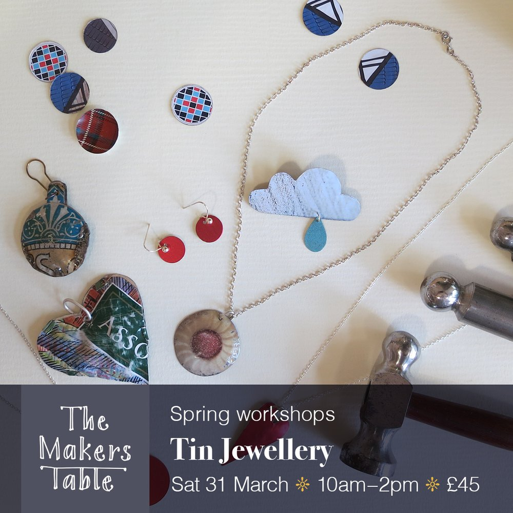 Tin Jewellery Workshop- the makers table