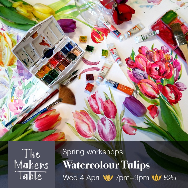 watercolour tulips - the makers table