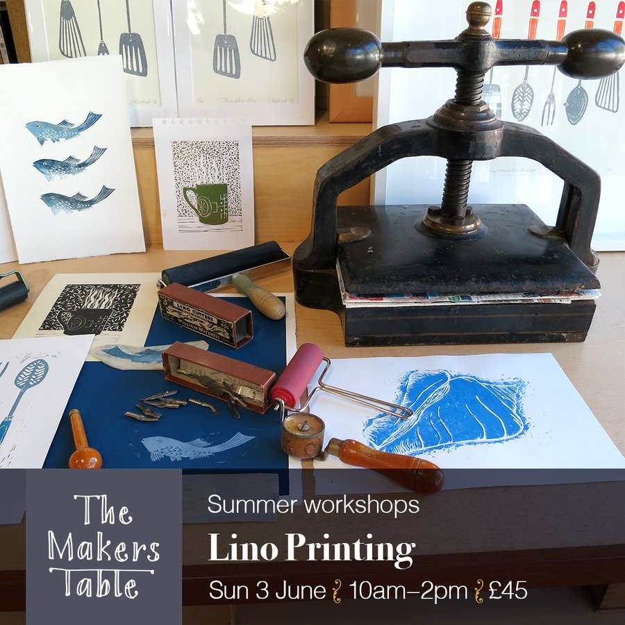 lino printing workshops - the makers table
