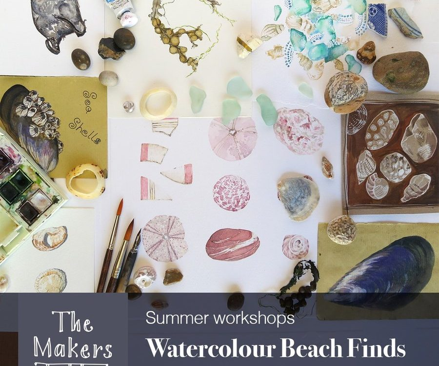 watercolour beach find - the makers table
