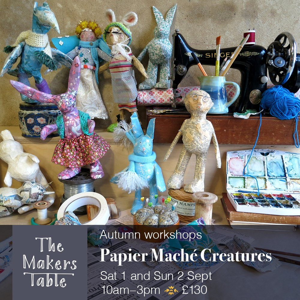 Papier Mache Creatures workshops -the makers table