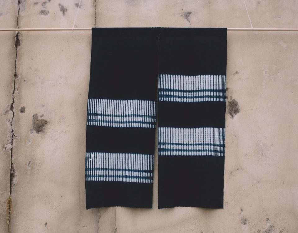 large textile wall shibori wall hanging with indigo dye