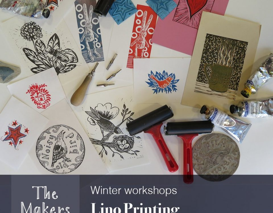 Lino art prints with paints and rollers