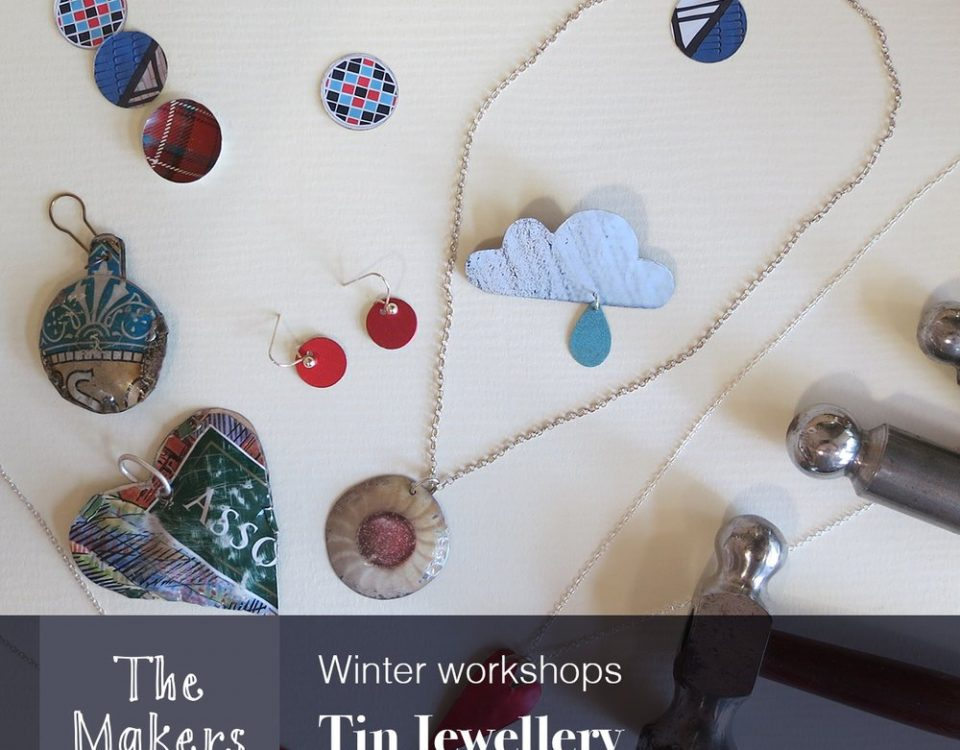 Necklace, pendants and earrings made from tin with tools