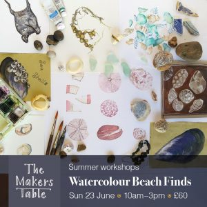 watercolour beach finds - The Makers Table Workshops