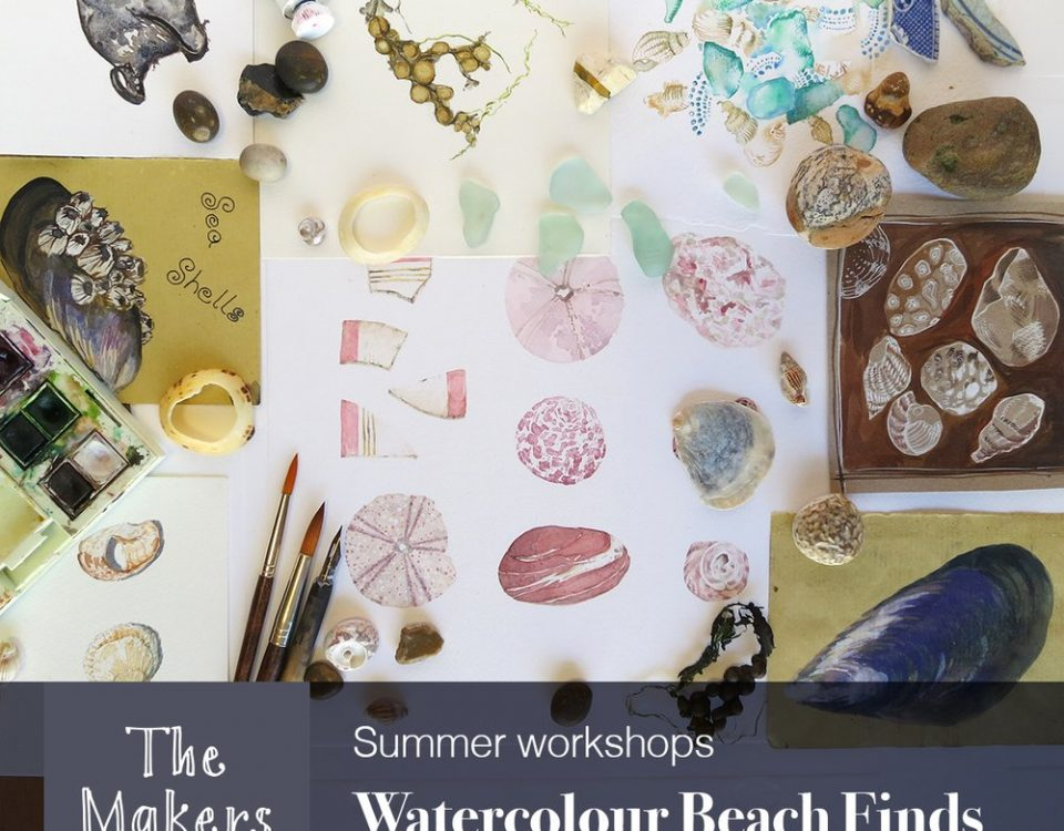 watercolour beach finds